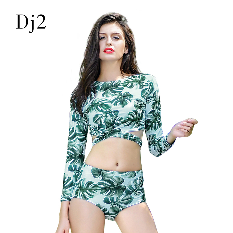 Leaf Print Tankini Swimsuit Long Sleeve Two Pieces Bikini Swimsuit Swimwear Women 2017 Crop Top Surfing Suits Sea Bathing Suits