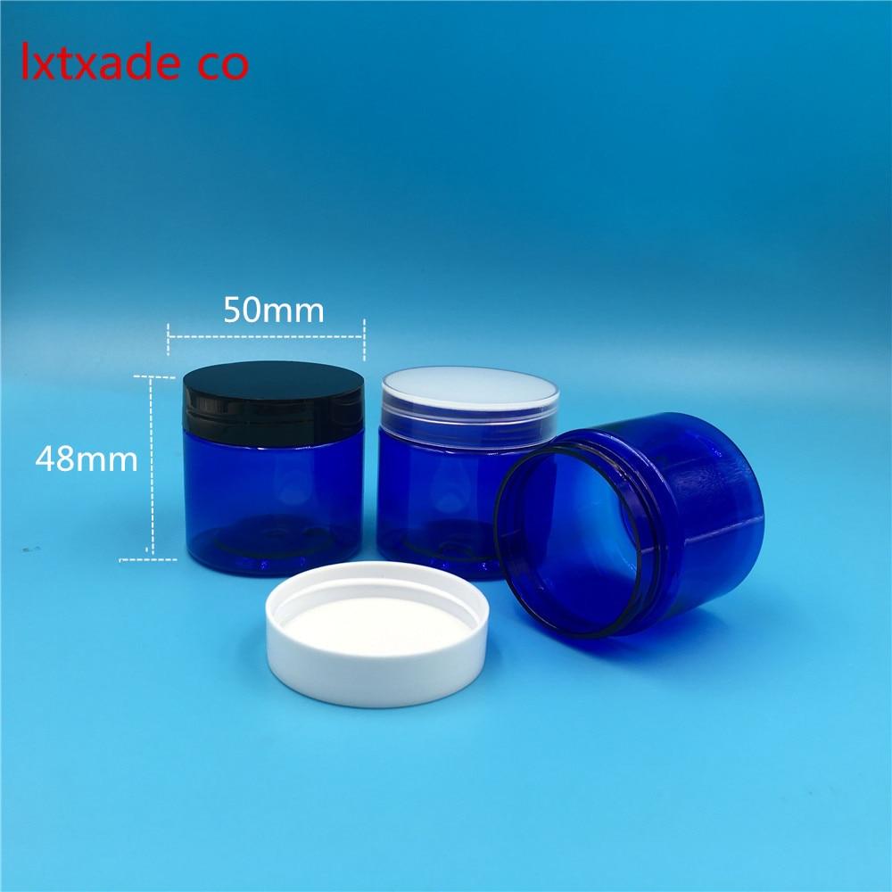 Free Shipping 50g ml Royalblue Blue Plastic Bottle jar Originales Refillable Cosmetic Cream jars 50ml Empty