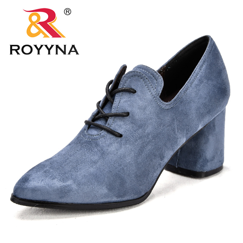 ROYYNA New Arrival Classics Style Women Pumps Pointed Toe Flock Dress Shoes Square High Heels Office Shoes Lady Wedding ShoesROYYNA New Arrival Classics Style Women Pumps Pointed Toe Flock Dress Shoes Square High Heels Office Shoes Lady Wedding Shoes