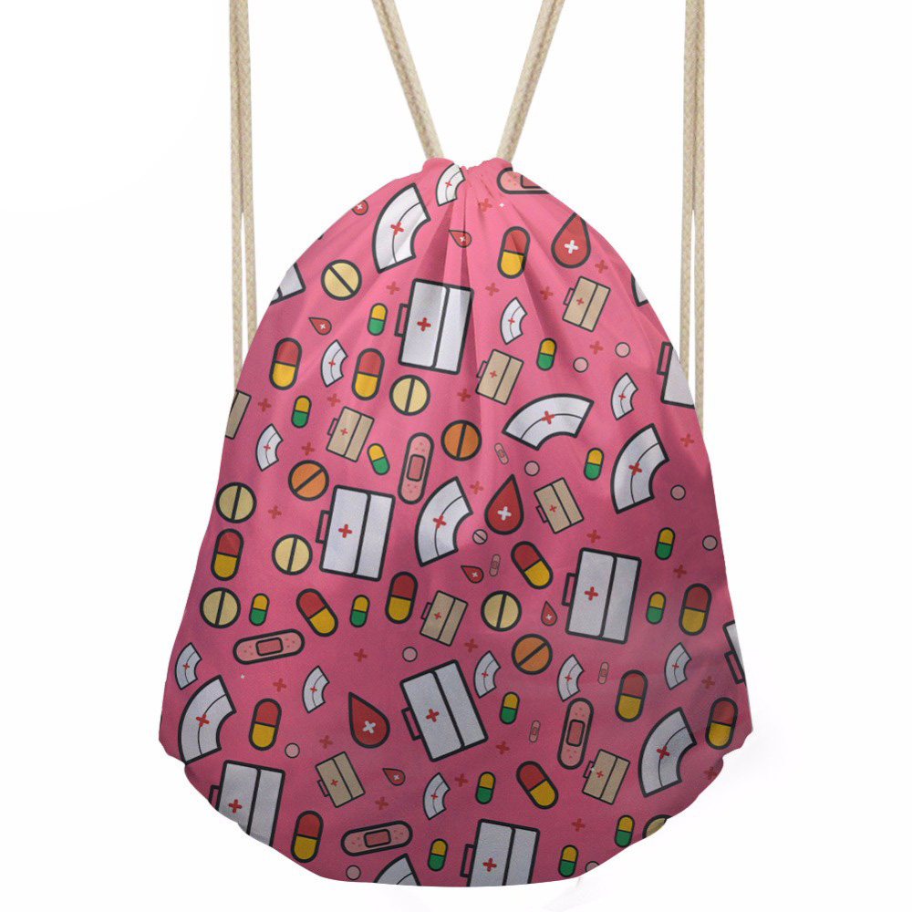 Women's Drawstring Bag Cartoon Nurse Pattern Backpack Females Casual Daypack For Kids Girls Cute SchoolBags Mochila