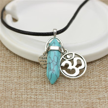 Fashion Women Vintage Crystal Bullet Natural Stone Quartz om Necklace Pendant Choker Amethyst Turquoise Rope Chain Jewelry(China (Mainland))