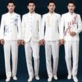 Frete grátis homme traje estilo chinês 2016 nova mens ternos túnica bordado figurinos para os cantores MC ternos de vestido de acolhimento