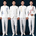 free shipping costume homme Chinese style 2016 New mens tunic suits embroidery stage costumes for singers MC host dress suits