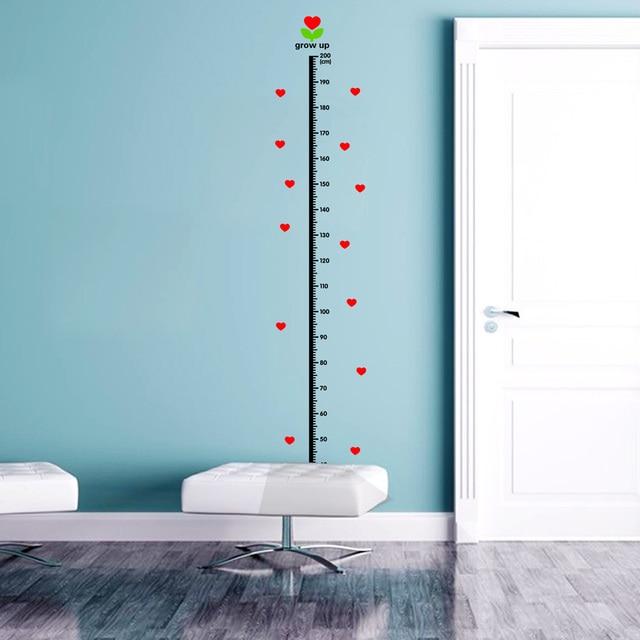Herzförmigen Muster Wandaufkleber Höhe Messung Für Kinder Wand Dekor  Cartoon Wand Kunst Startseite Decals Höhe