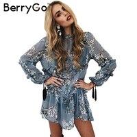 BerryGo Ruffle Floral Print Tassel Chiffon Dress Autumn Winter Loose Long Sleeve Dress Vintage Transparent Short