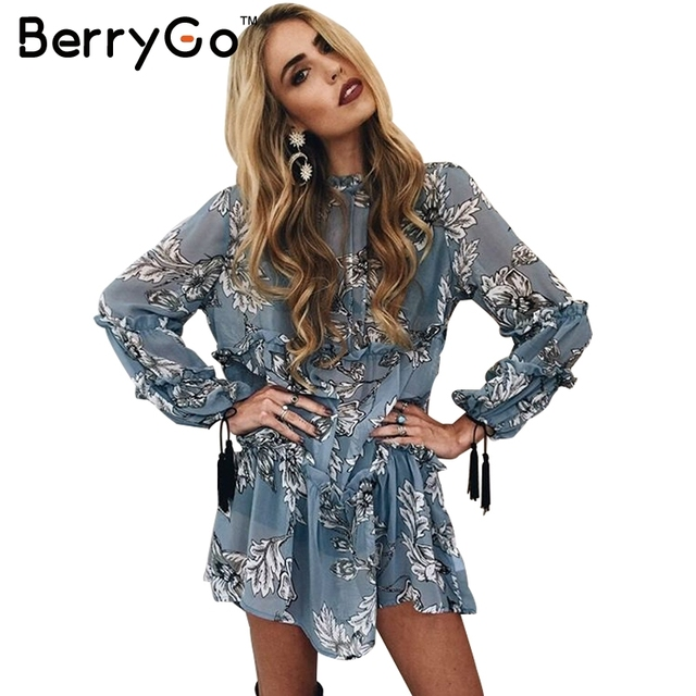 BerryGo Ruffle floral print tassel chiffon dress Autumn winter loose long sleeve dress Vintage transparent short dress vestidos