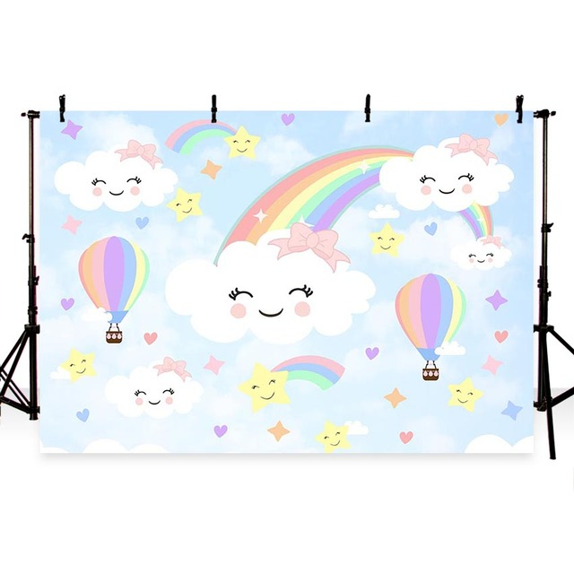 Photography Backdrop Balloon blue sky white cloud rainbow children baby shower birthday theme backdrop professional photo studio