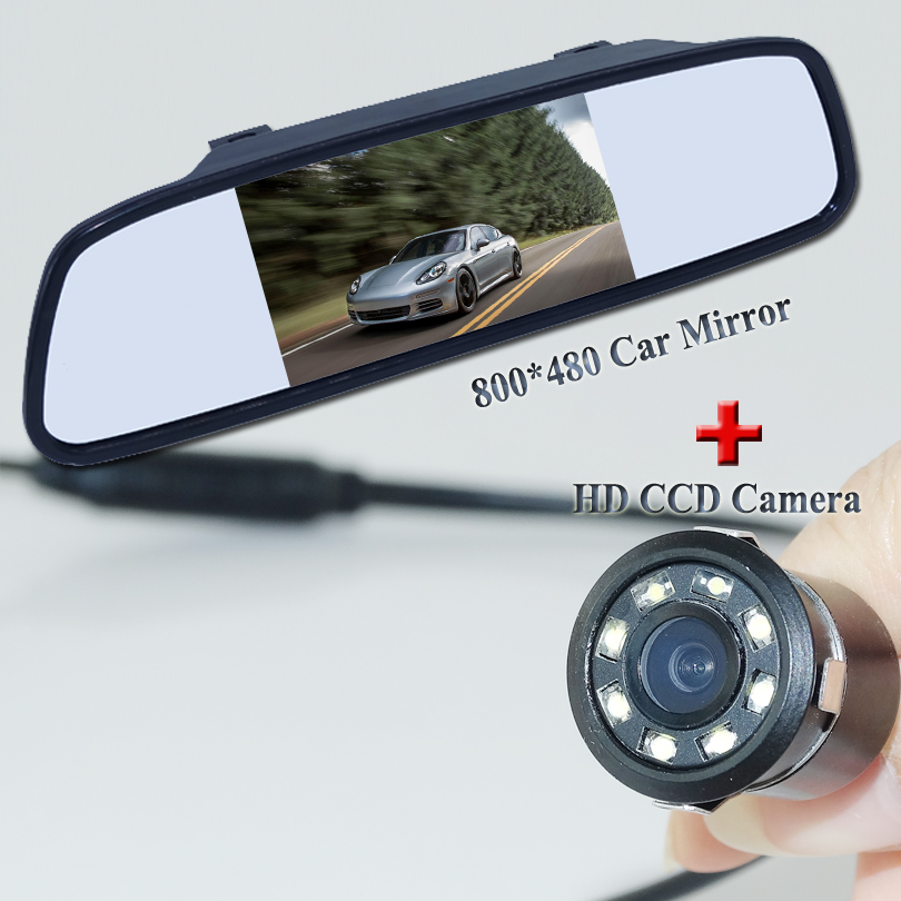 Hot selling car backup camera bring 8 lights ccd image plastic shell +sunvisor placement 4.3 car mirror for various car