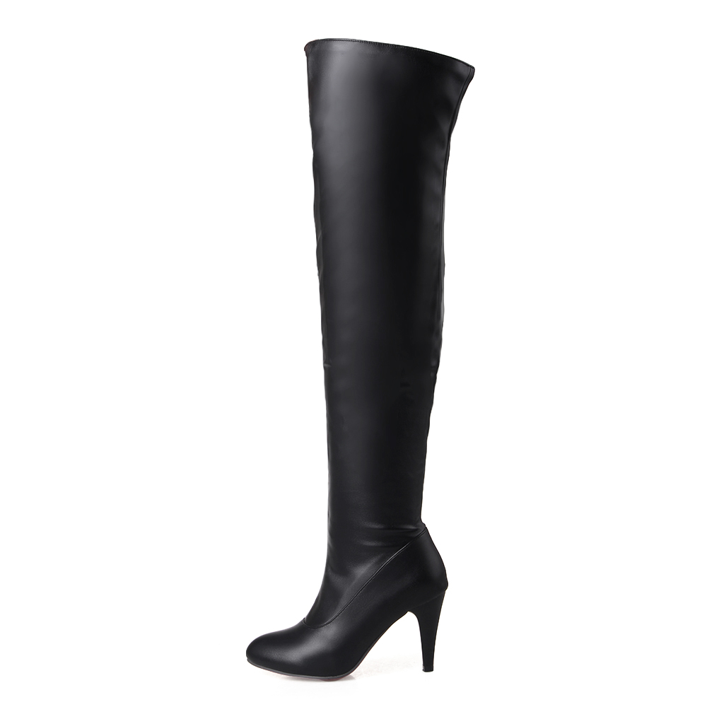 Brand New Sexy Women Nude Thigh High Boots Black Apricot Lady Over the Knee Slouch Shoes Spike Heel ET23 Plus Big size 32 46 10 brand new hot sales women nude ankle boots red black buckle ladies riding spike shoes high heels emb08 plus big size 32 45 11