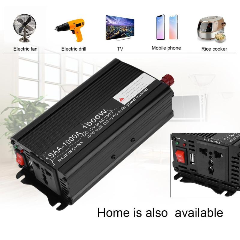 VODOOL Car Inverters 2000W Peak Power Inverter DC 12V/24V to AC 220V Charger Converter Black Continuous output power 500W