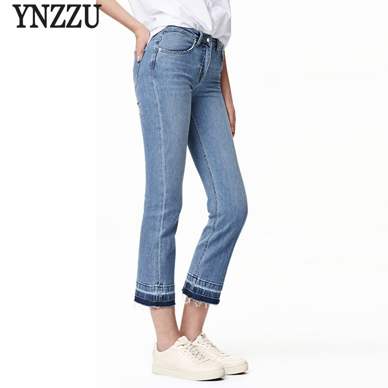 YNZZU 2017 Spring New Women Jeans Light Blue High Waist Flare Pants Ankle Length Slim Jeans Demin Pants Trousers Plus Size YB059 2017 new jeans women spring pants high waist thin slim elastic waist pencil pants fashion denim trousers 3 color plus size