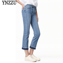 YNZZU 2017 Spring New Women Jeans Light Blue High Waist Flare Pants Ankle Length Slim Jeans Demin Pants Trousers Plus Size YB059