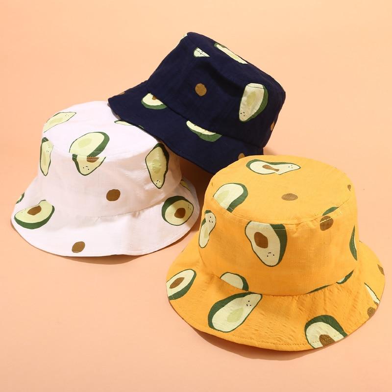 Parent-child Hat Small Fresh Literary Avocado Fisherman Hat Women Summer Outdoor Parent-child Travel Visor Bucket Hat Beanies