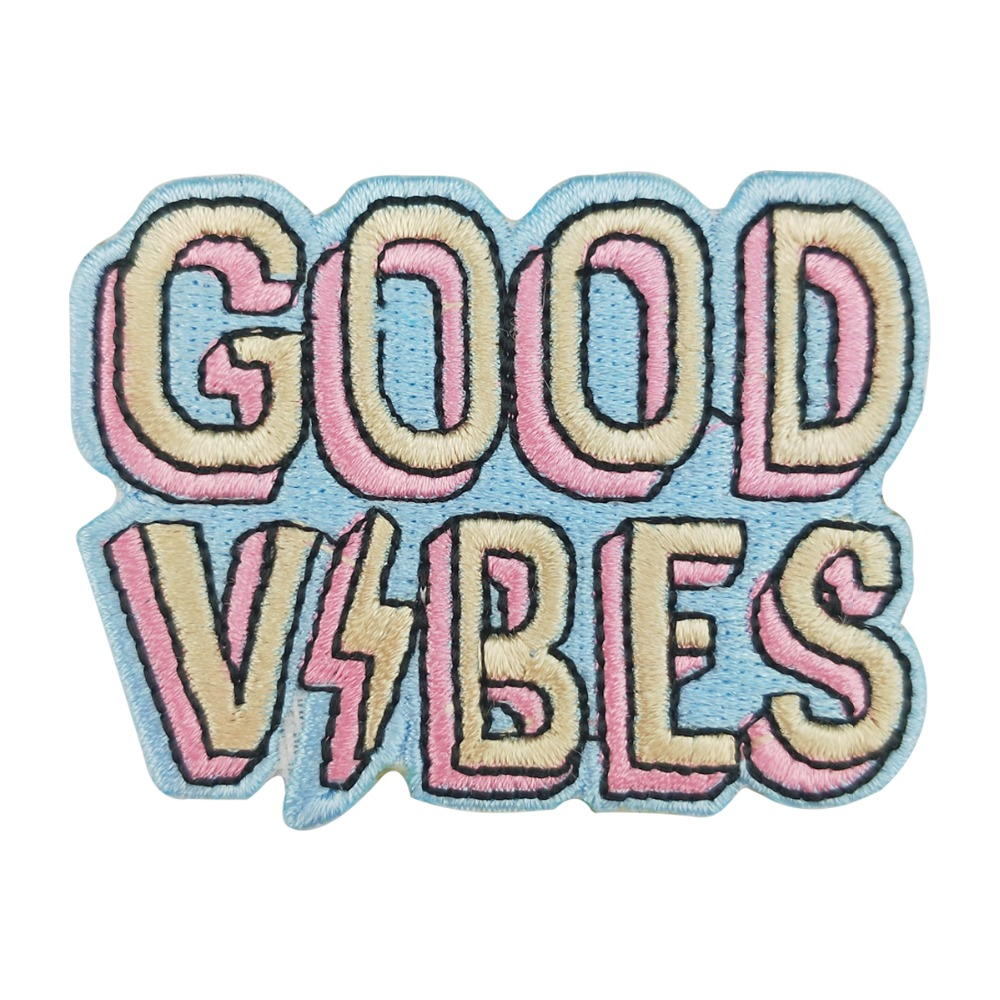 Good Vibes Embroidery iron on custom text patches for jacket shirt vest clothing stickers ...