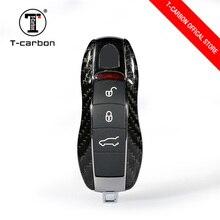 100% углерода волокно ключи чехол Защитный в виде ракушки стайлинга автомобилей сумка коробка для Porsche Cayenne Macan Cayman Boxster 911