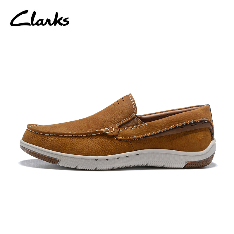 a89fff806fae Mocassins Clarks Trigénique Pour Hommes Plates Chaussures Décontractées  Cuir D'été Mode Véritable En Brun 1 ...