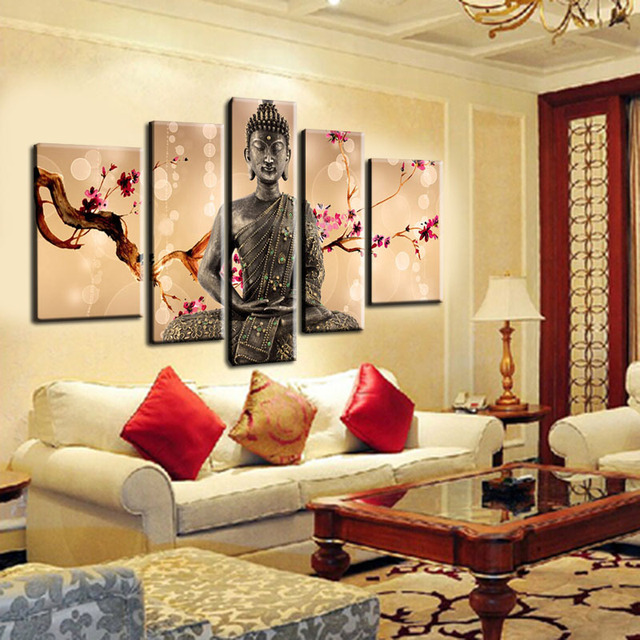 Buy 5 pieces spray modern tableau buddha for Decoration murale 1 wall