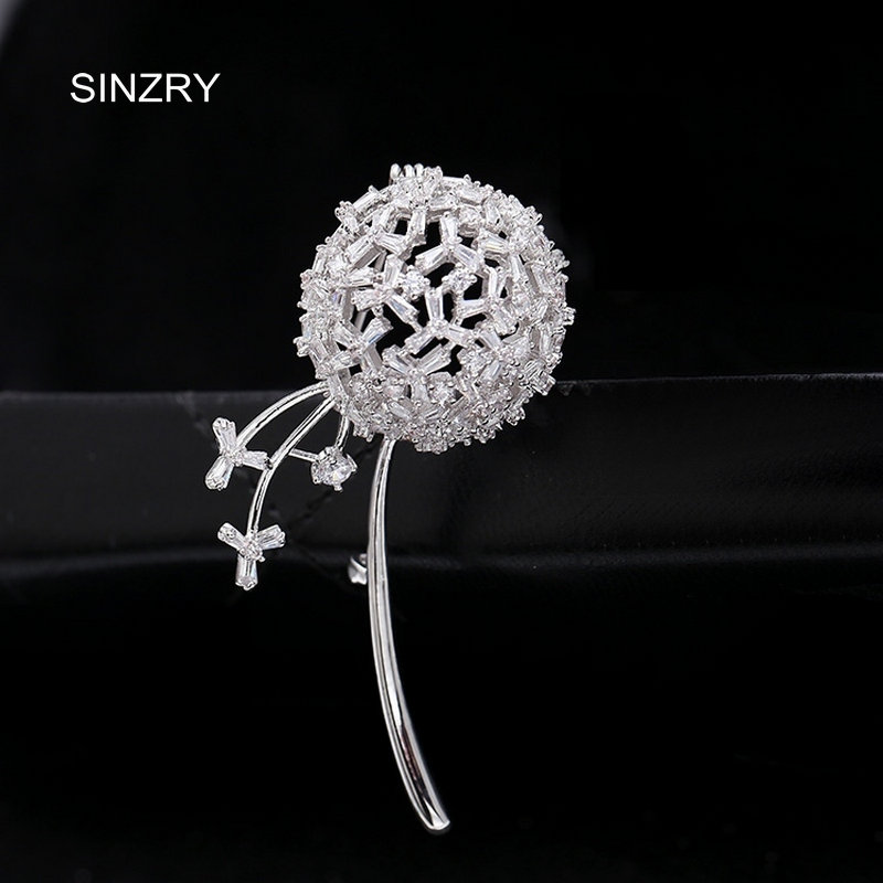 SINZRY trendy elegant jewelry accessory cubic zircon solid dandelion flower brooches pin lady Scarf buckle CZ jewelry