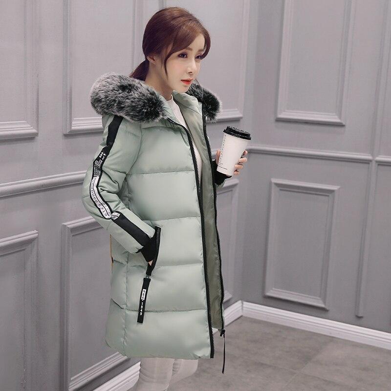High Quality Outerwear Winter Jackets Women Plus Size   Parka   jacket Warm Cotton Wadded Jacket long Slim Female Hooded Fur Collar