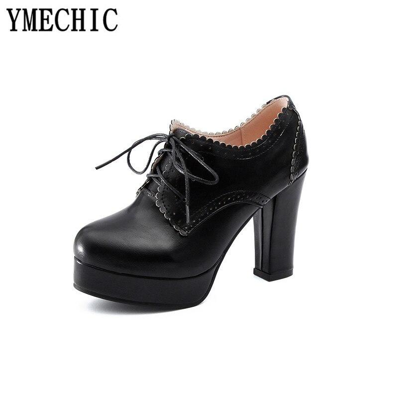 jaune À Ymechic Femme Haute Gladiateur 2018 Beige Vintage forme Noir Talons Chunky noir xingse Pompes Plate Chaussures Bloc Casual Dame Jaune Lacets Beige Richelieu qpUSVGLMjz