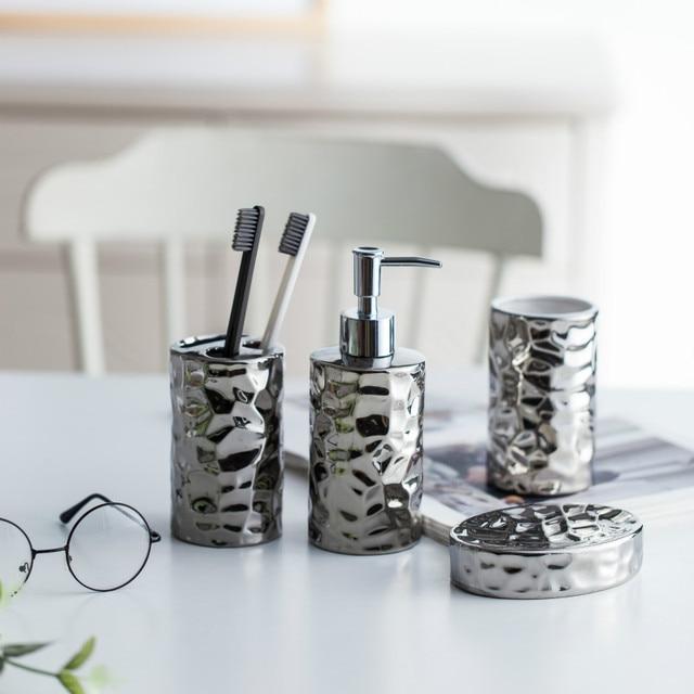 European Style Ceramic Bathroom Set Silver Plated Washroom Bathroom  Accessories Wash Cups Toothbrush Holder Soap Dish