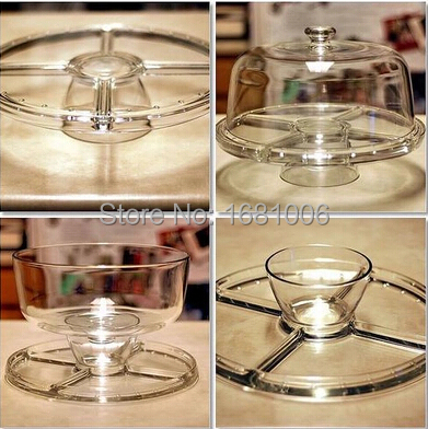 2015 new multifonction 4 in 1 cake stand transparent cake cover rack crisper for cookie Food storage box fruit Container K126-in Stands from Home \u0026 Garden ... & 2015 new multifonction 4 in 1 cake stand transparent cake cover rack ...