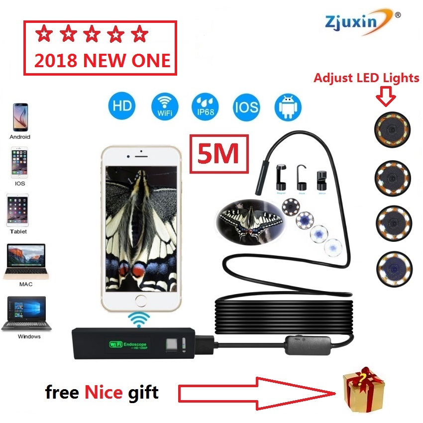 2018 NEW 5M WIFI Endoscope New Camera 8mm HD Lens USB Iphone Android endoscope Tablet Wireless Endoscope wifi softwire 3 5m wifi endoscope new camera 8mm hd lens usb iphone android endoscope tablet wireless endoscope wifi softwire