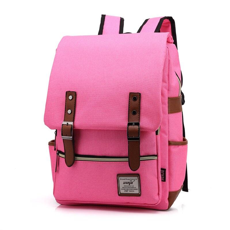 Mode grande capacité toile sac à dos cartable ordinateur portable voyage multifonctionnel week-end sac à dos rose adolescents vs garçons filles