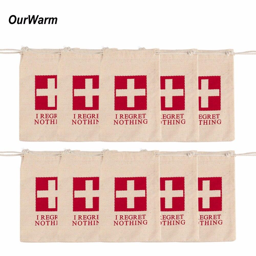 Ourwarm 20pcs Cotton Bachelorette Party Hangover Kit Bag 4x6 inch ...