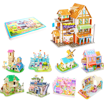 Children DIY 3D Assembled House Toy Manual House Simulation  Villa Puzzle Castle Building Fun Puzzle Foam Board For Kids Gift