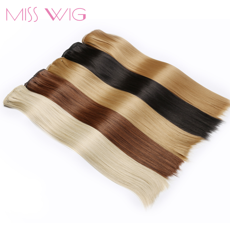 MISS WIG 15Colors Available 24Inchs Long Straight 16 Clips in Hair Extensions Synthetic Hairpieces 140g False