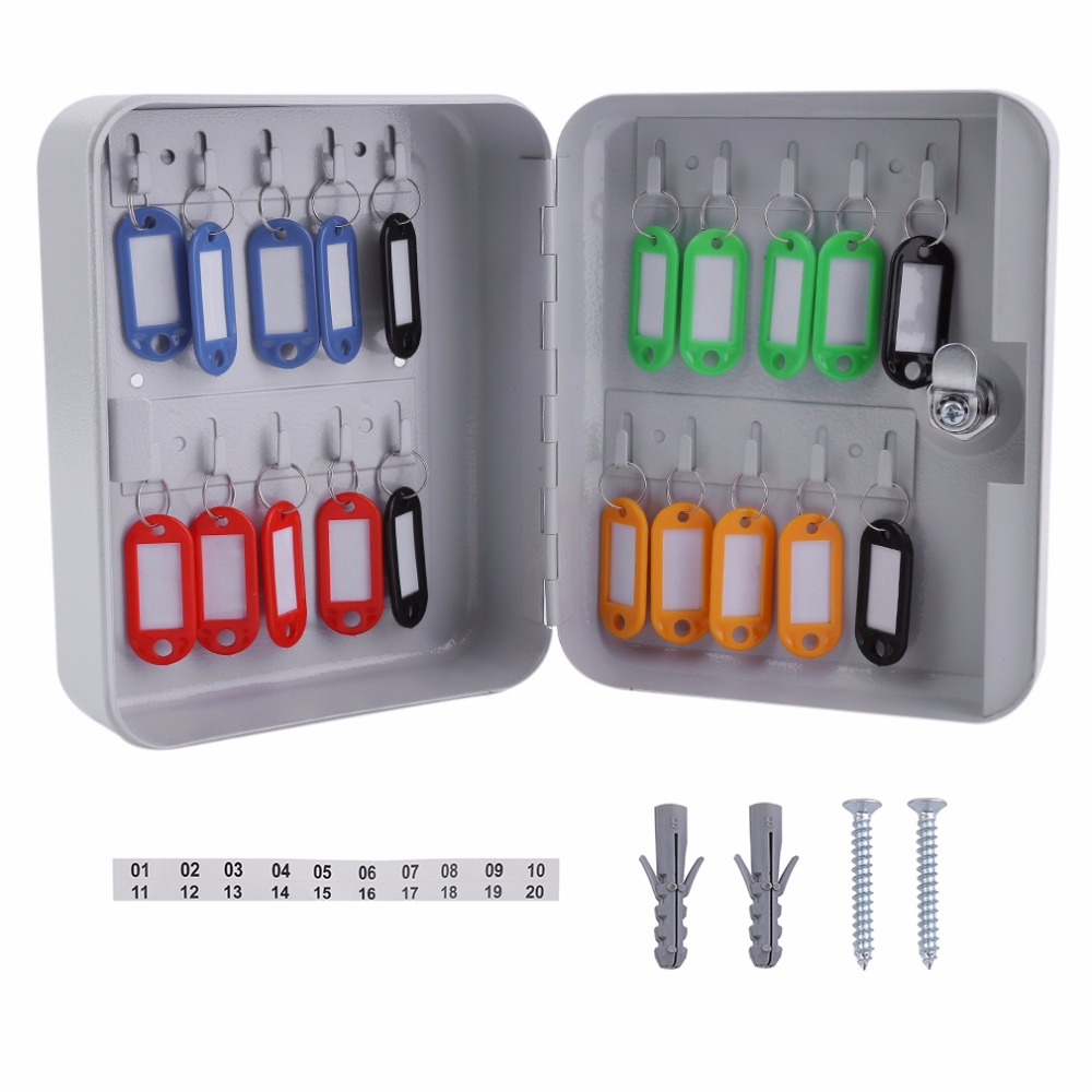 Practical Key safe box Lockable Security Metal Key Cabinet Storage Box Safe 20 Tags Fobs Wall Mounted key security box wholesale mosaic key box timber craft entrance pastoral perspective shell key box key box key cabinet wall href