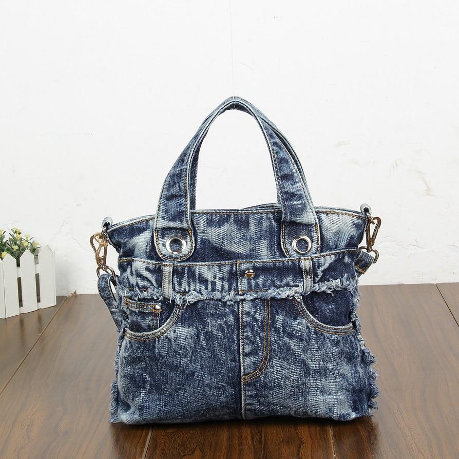 New Fashion Vintage Jeans Denim Women Bags Lady s HandBags Shoulder Message Tote purse Bag carteira