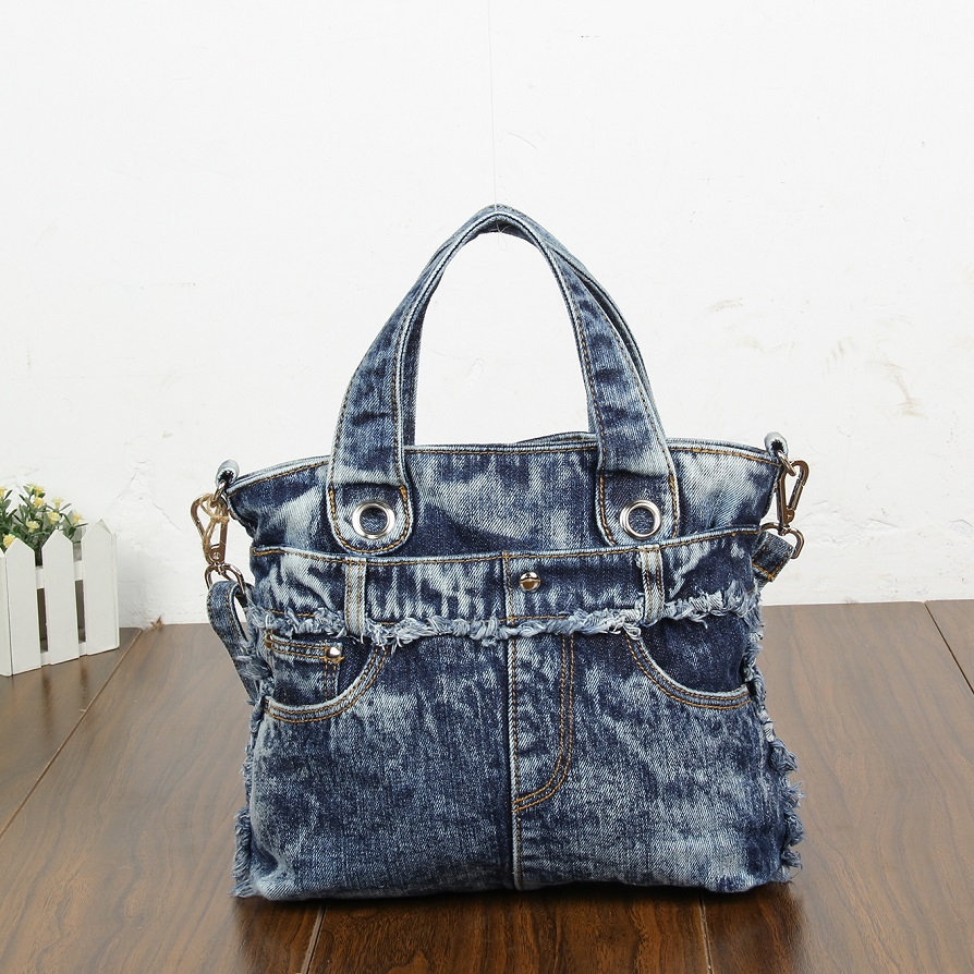 New Fashion Vintage Jeans Denim Women Bags Lady's HandBags Shoulder Message Tote purse Bag carteira bolsa feminina fashion vintage applique belt girls jeans denim women bags lady s handbags crossbody purse shoulder bag carteira bolsa feminina