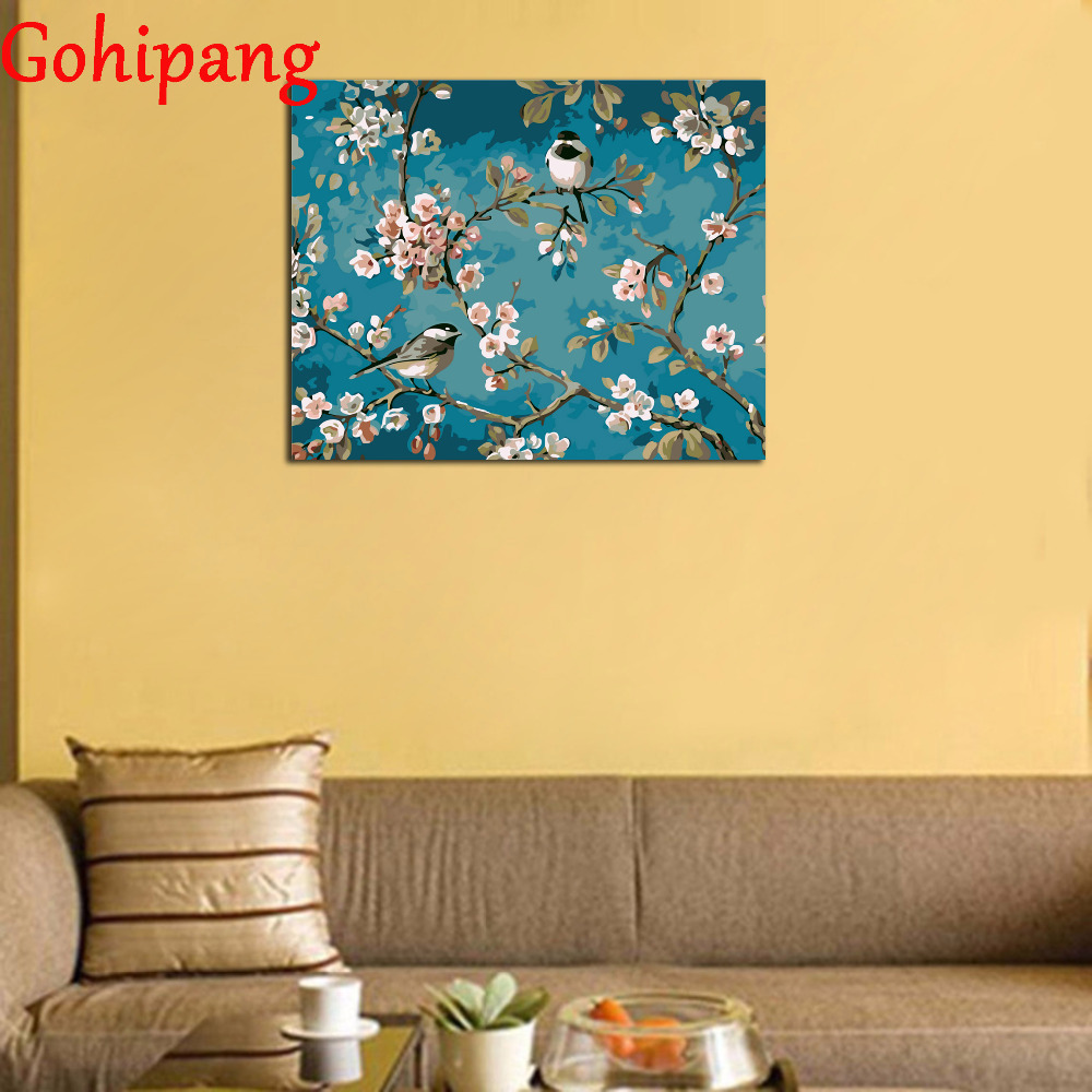 Gohipang Framed Pear Flower Bird On The Tree Painting By Numbers ...