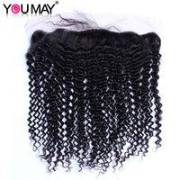 Pre Plucked 13X4 Lace Frontal Closure With Baby Hair Brazilian Kinky Curly Virgin Human Hair Closure