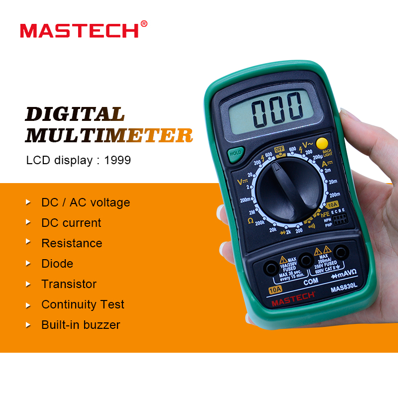 MASTECH MAS830L Mini Digital Multimeter Handheld LCD Display DC Current Tester Backlight Data Hold Continuity Diode hFE Test