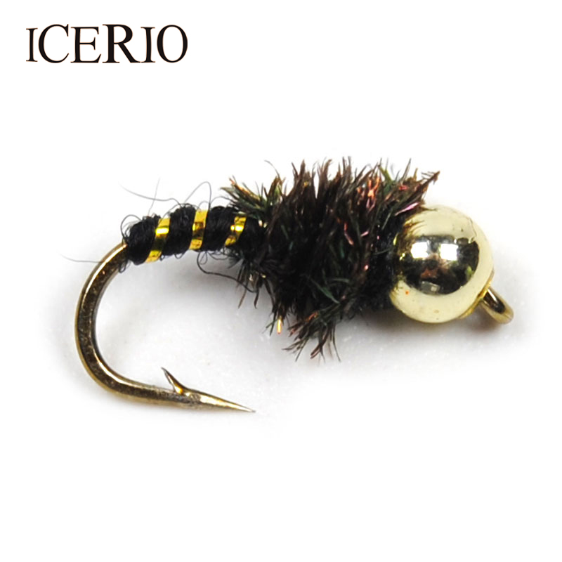 ICERIO 10PCS #14 Bead Head Nymphs Peacock Hackle Dry Flies Fly Trout Fishing Lures mnft 10pcs 14 plastic golden bead head nymph fly larva flies brim perch baits small bugs for trout bream blue gill fly fishing