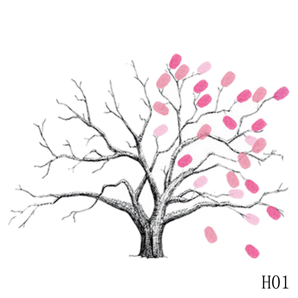 NEW Fashion DIY Guest Sign In Book DIY Fingerprint Canvas Tree For Wedding Party Birthday Decoration (Tree)