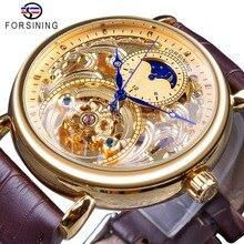 Forsining 2018 الملكي الذهبي الهيكل العظمي عرض الأزرق الأيدي براون حزام جلد طبيعي رجالي ساعة المعصم الميكانيكية الذكور
