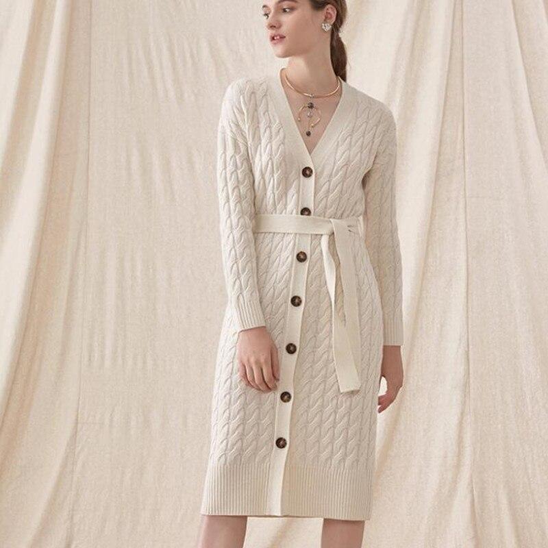 8198d781905 Femmes Cou dark Long Avec Longues Blue White À Laine Manches Robe Pull  Ceinture Manteau V ...