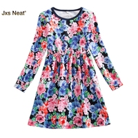 JXS NEAT Newest Design Girls Flower Frocks Children Clothes Hot Dresses Baby Dresses Long Sleeve Baby