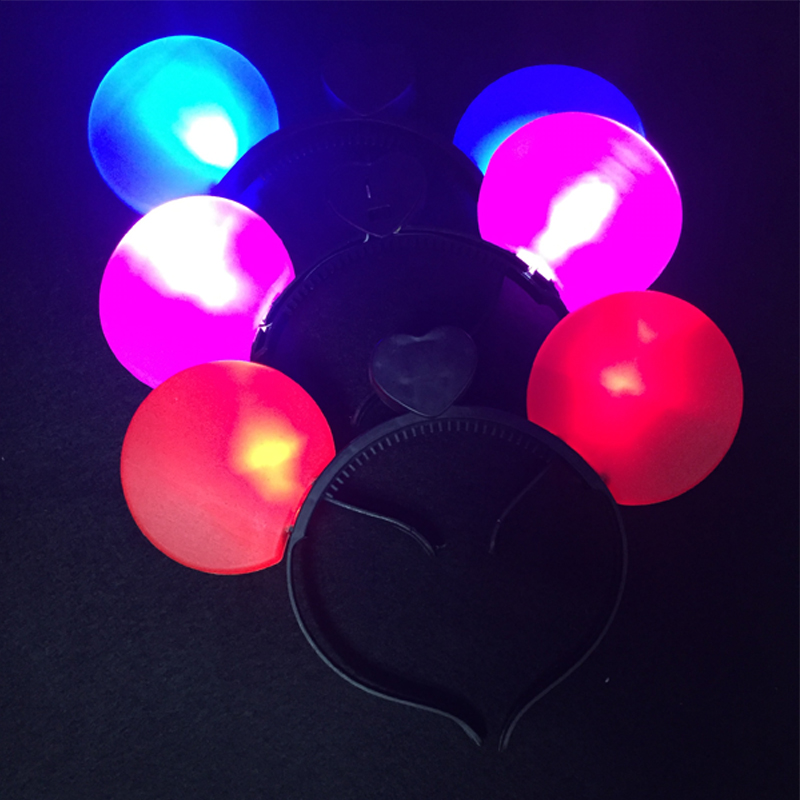 24pcslot Hot Sale Light Up Mickey Minnie Mouse Headband Mixed Color