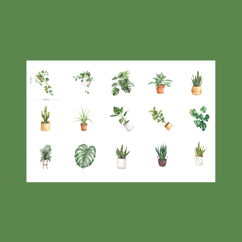45pcs pack Kawaii Green Plant Life Stationery Decorative Mini Sticker DIY Album Decoration Stickers Scrapbooking Office Supply in Stickers from Home Garden