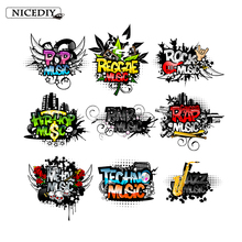 Nicediy Music Sign ROCK POP RAP Patch Iron On Heat Transfer For Clothes Thermal Vinyl Sticker Cool Hippie Patches