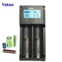 Yakee  2 ranuras  pantalla LCD  cargador de batería USB para batería recargable  3 7 v 1 48 V Li-ion NiCd NiMh AAA LiFePO4 18650 26650 14500