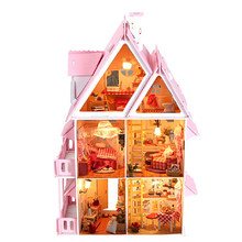 Pink House Building Toys for Girls Gift Assembling DIY Miniature Model Kit Wooden Doll House Big Size House Toy With Furnitures(China)