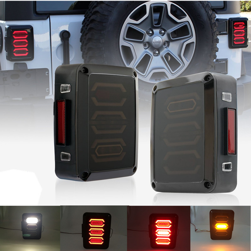 Pair LED Reverse Brake Tail Lights With EU/US Standard Plugs Car Light Replacement Light For 07-16 For JEEP JK WRANGLER Rubicon
