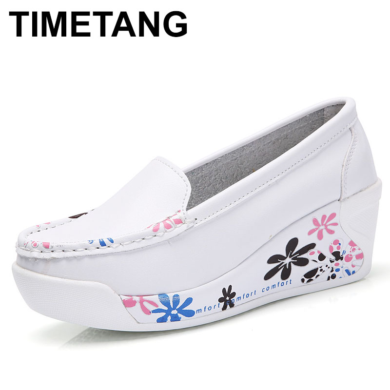 TIMETANG Hot Sale New Women's Genuine Leather Platform Shoes Wedges White Lady casual Shoes Swing mother shoes size 35-40 C220 summer fashion nurse shoes ladies air cushion white sneakers women platform shoes 2018 new lolita shoes swing hot sale big size