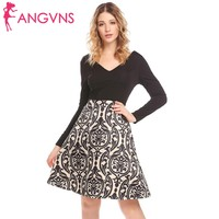 ANGVNS Women Patchwork A Line Pleated Dress Casual Deep V Neck Long Sleeve Slim Print Swing